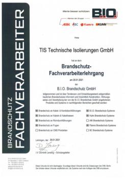 B.I.O.-Zertifikat-Brandschutz-TIS